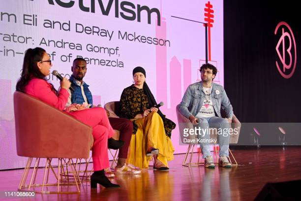Andrea Gompf DeRay Mckesson Blair Imani and Adam Eli speak onstage at Beautycon Festival New York 2019 at Jacob Javits Center on April 07 2019 in New...