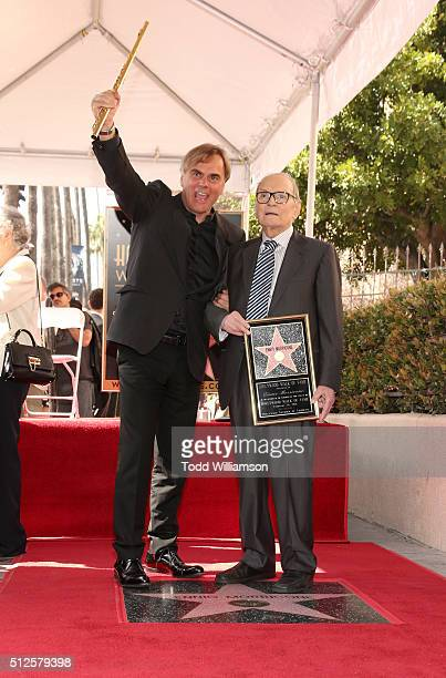 Andrea Griminelli and Ennio Morricone attend The Hateful Eight's Ennio Morricone Star Ceremony On The Hollywood Walk Of Fame at Hollywood Walk Of...