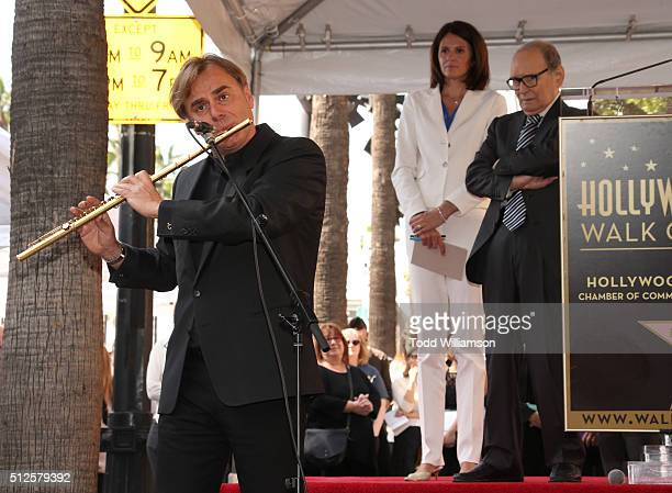 Andrea Griminelli attends The Hateful Eight's Ennio Morricone Star Ceremony On The Hollywood Walk Of Fame at Hollywood Walk Of Fame on February 26...