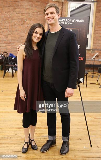 Andrea Gross and Lee Aaron Rosen attend the Meet Greet for the Roundabout Theatre Company's National tour production of 'Cabaret' at Gibney Studios...