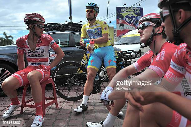 Andrea Guardini and members of the Androni Giocattoli Sidermec Team ahead of the fourth stage of the Tour de Langkawi 2016 the 1294 km from Ipoh to...