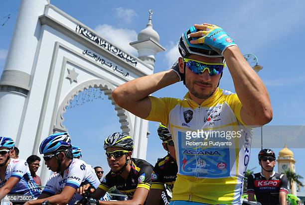 Andrea Guardini of Astana Pro Team prepares at the starting grid during Stage 2 of the 2015 Le Tour de Langkawi from Alor Setar to Sungai Petani with...