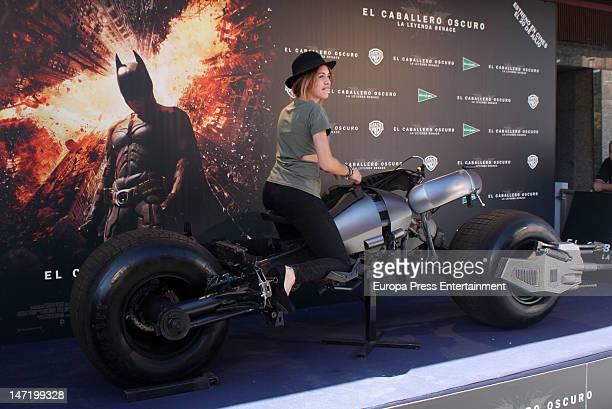 Andrea Guasch attends the presentation of the Batman motorbike used by Christian Bale in the film 'The Dark Knight Rises' at El Corte Ingles Store on...