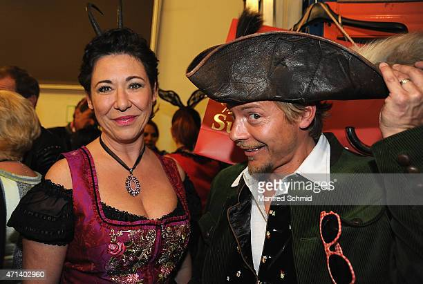 Andrea Haendler and Christoph von Friedl pose for a photograph during the Pro Juventute Charity Fashion Show at Studio 44 on April 27 2015 in Vienna...
