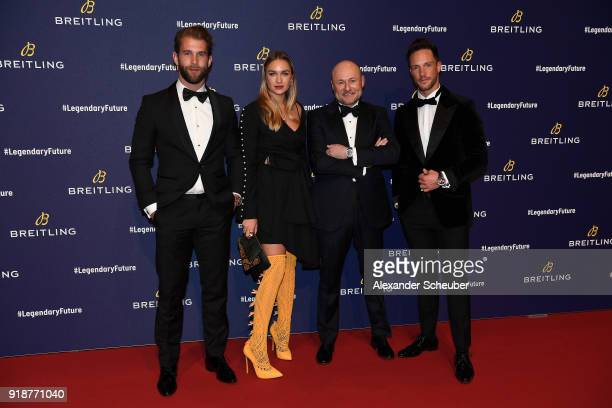 Andrea Hamann Nina Suess Georges Kern and Daniel Fuchs arrive on the red carpet at the '#LEGENDARYFUTURE' Roadshow 2018 Zurich on February 15 2018 in...