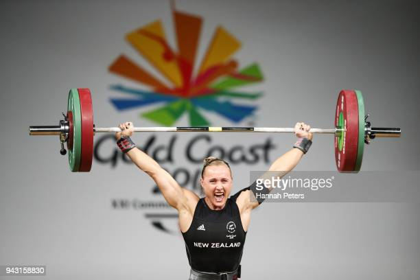 Andrea Hams of New Zealand competes in the Women's 69kg final during Weightlifting on day four of the Gold Coast 2018 Commonwealth Games at Carrara...