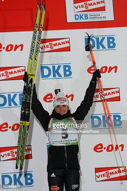 Andrea Henkel of Germany celebrates after the women's sprint during the e.on Ruhrgas IBU Biathlon World Cup on January 8, 2011 in Oberhof, Germany.