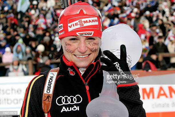 Andrea Henkel of Germany celebrates winning the Women's Mass Start event at the IBU Biathlon World Cup Final's March 18 2007 in Khanty Mansiysk Russia