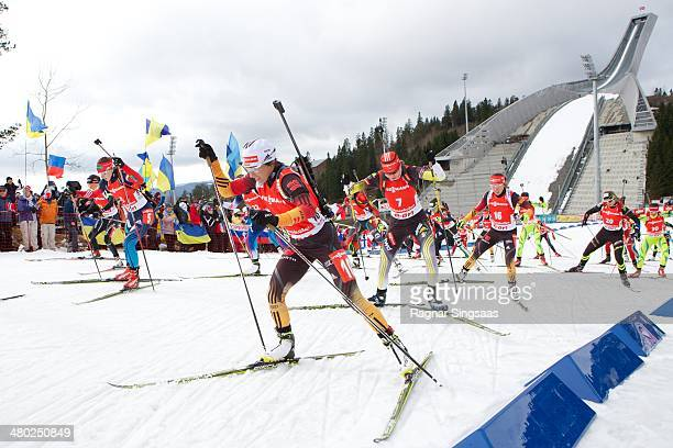 Andrea Henkel of Germany competes during the IBU Biathlon World Cup Women's 12.5 kilometer Mass Start race on March 23, 2014 in Oslo, Norway.