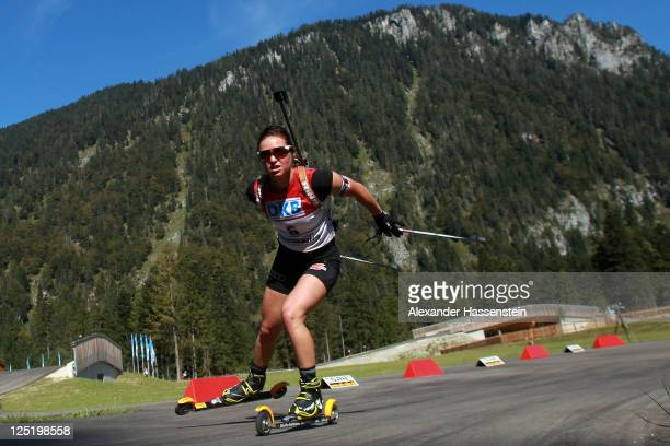 Andrea Henkel of Germany competes in the women's 15 km individual event during the German Championships at the Chiemgau Arena on September 16, 2011...