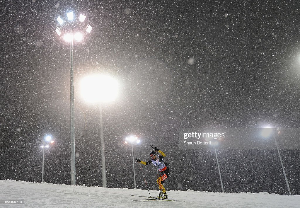 Andrea Henkel of Germany competes in the Women's 7.5km Sprint event the at Biathlon & Ski Complex on March 9, 2013 in Sochi, Russia.
