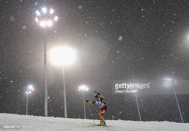 Andrea Henkel of Germany competes in the Women's 75km Sprint event the at Biathlon Ski Complex on March 9 2013 in Sochi Russia