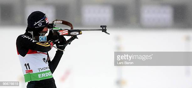 Andrea Henkel of Germany is seen at the shooting range prior to the Women's 12,5 km mass start in the e.on Ruhrgas IBU Biathlon World Cup on January...