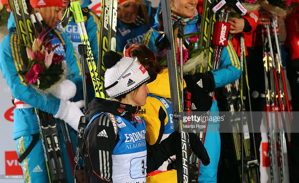 Andrea Henkel of Germany looks dejected after the Women's 4 x 6km Relay in the IBU Biathlon World Championships at Vysocina Arena on February 15, 2013 in Nove Mesto na Morave, Czech Republic.