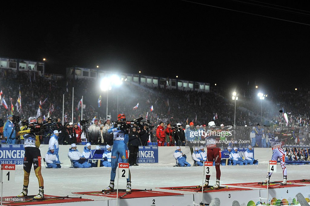 Andrea Henkel of Germany, Olena Pidhrushna of Ukraine takes 2nd place place, Tora Berger of Norway 1st place, Marie Dorin-Habert of France competes during the IBU Biathlon World Championship Women's 4x6km Relay on February 15, 2013 in Nove Mesto, Czech Republic.