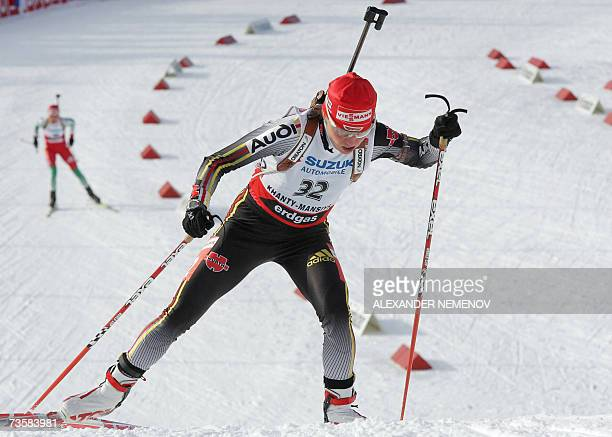 Andrea Henkel of Germany performs to take the silver medal of the 75 km sprint event at the IBU World Cup biathlon final women's 15 March 2007 in the...