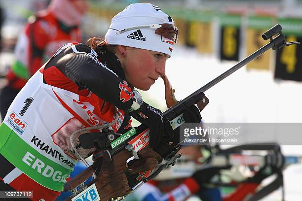Andrea Henkel of Germany practice at the zeoring prior to mixed relay during the IBU Biathlon World Championships at AV Philipenko winter sports...