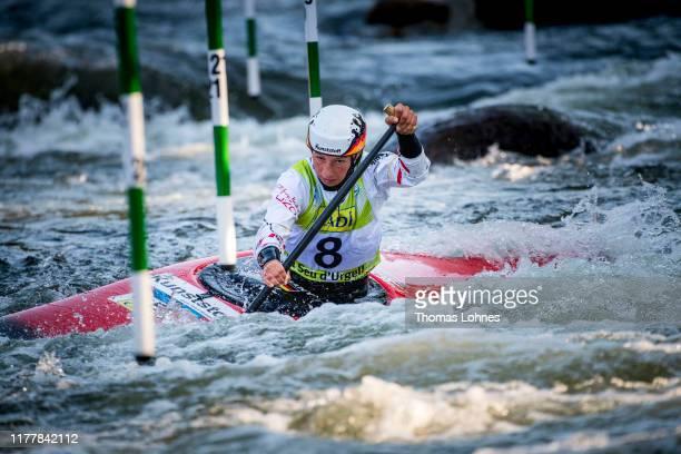 Andrea Herzog of Germany runs the WC1 Women's Canoe Semifinal during the 2019 ICF Canoe Slalom World Championships on September 29, 2019 in La Seu...