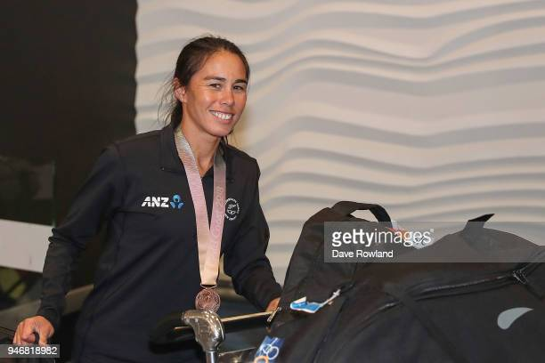 Andrea Hewitt bronze medal for Triathlon relay during the Welcome Home Function at Novotel on April 16 2018 in Auckland New Zealand