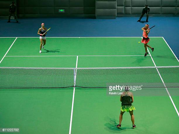 Andrea Hlavackova of Czech Republic and Lucie Hradecka of Czech Republic in action against Kateryna Bondarenko of Ukraine and ChiaJung Chuang of...