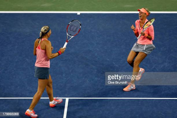 Andrea Hlavackova of Czech Republic and Lucie Hradecka of Czech Republic celebrate winning their women's doubles final match against Ashleigh Barty...