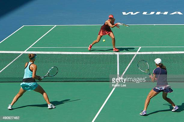 Andrea Hlavackova of Czech Republic in action against IrinaCamelia Begu of Romania and Monica Niculescu of Romania during day 6 of 2015 Dongfeng...
