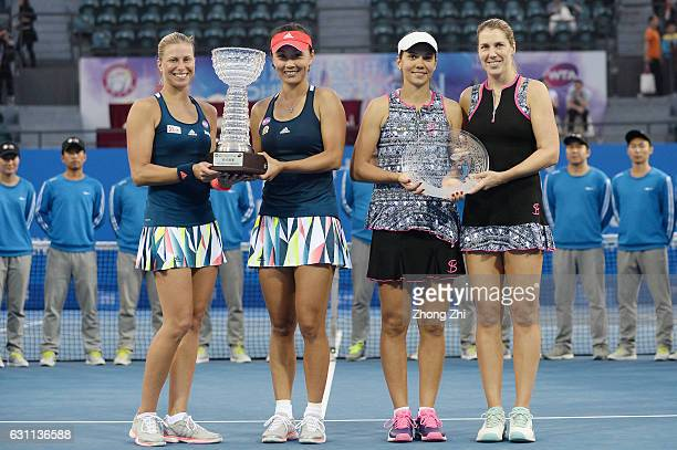 Andrea Hlavackova of the Czech Republic and Peng Shuai of China and Raluca Olaru of Romania and Olga Savchuk of Ukraine pose for photo after the...