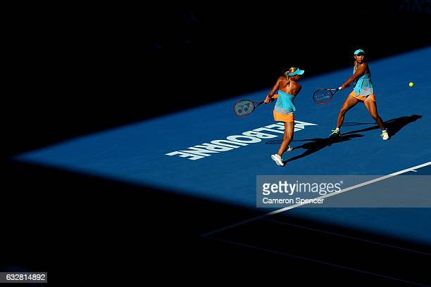 Andrea Hlavackova of the Czech Republic and Shuai Peng of China compete in their Women's Doubles Final match against Bethanie MattekSands of the...
