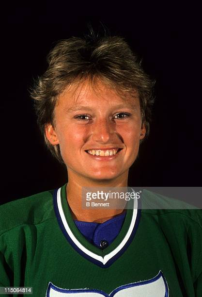 Andrea Holik stands in for her brother Bobby Holik during the 1989 NHL Draft at the Met Center in Bloomington Minnesota Holik was drafted 10th...