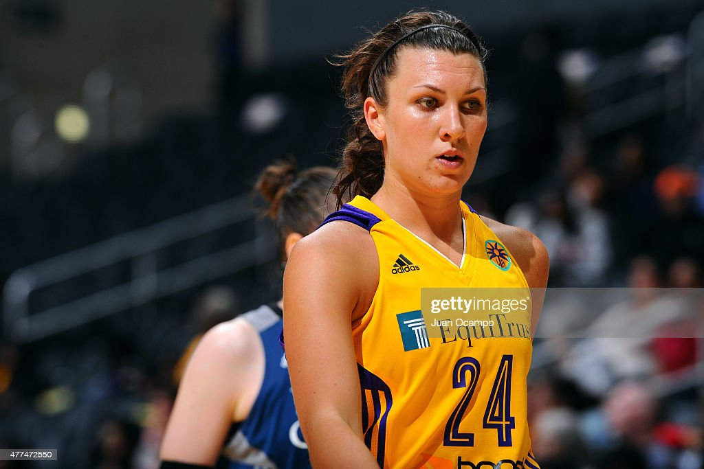 Andrea Hoover #24 of the Los Angeles Sparks stands on the court during a game against the Minnesota Lynx on June 16, 2015 at Staples Center in Los Angeles, California.