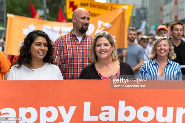 Andrea Horwath leader of the NDP party in Ontario marches during the Toronto Labour Day Parade The event is an annual worker's celebration