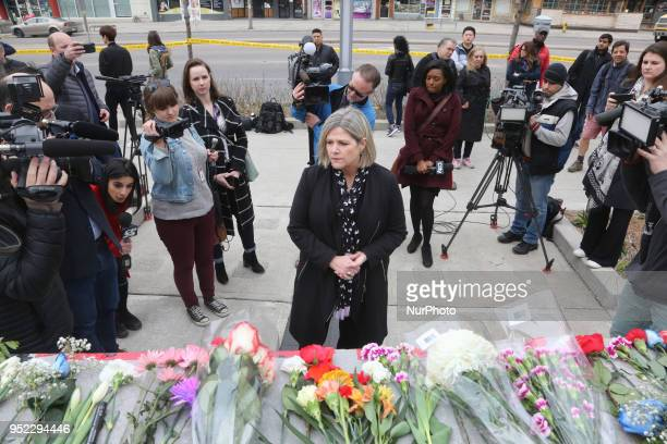 Andrea Horwath leader of the NDP Party visits the memorial at Olive Square the day after 10 people were killed and 15 people injured in a deadly van...