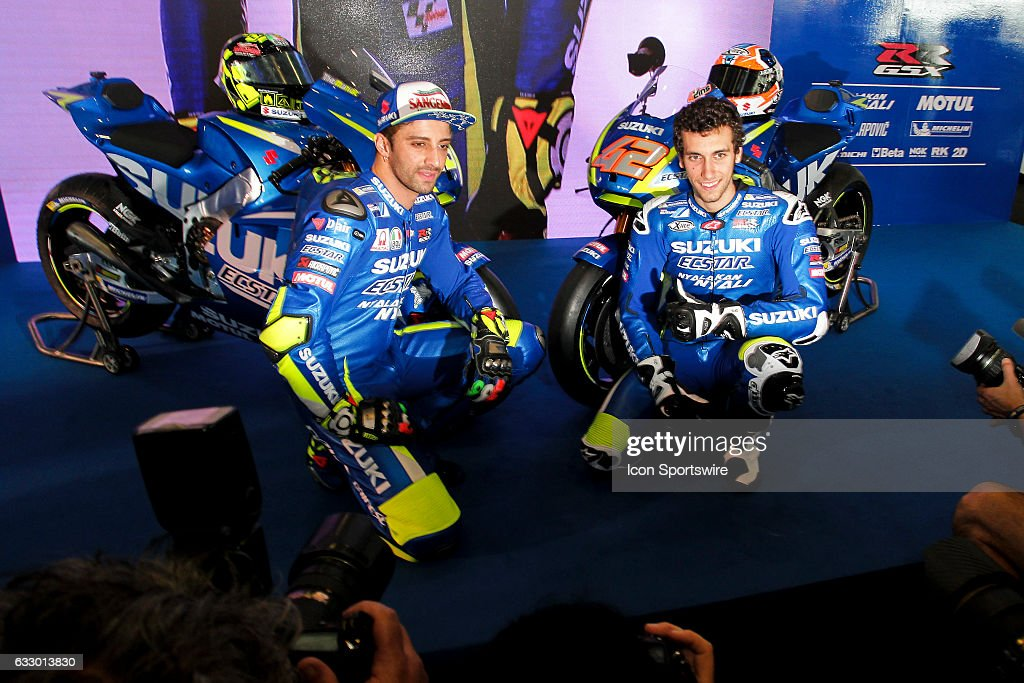Andrea Iannone and Alex Rins of Team Suzuki Ecstar unveils the Suzuki motorcycle model, the GSX-RR 1000 at Sepang International Circuit in Sepang, Malaysia.