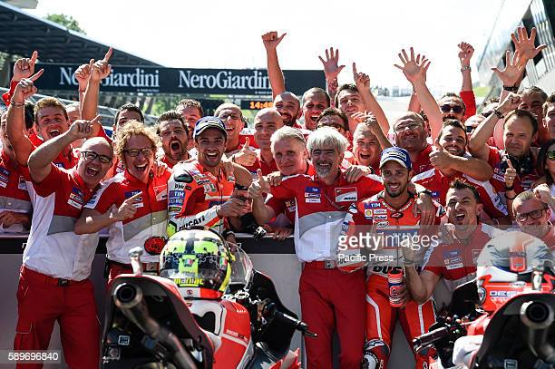 Andrea Iannone and Andrea Dovizioso wit team celebrate the first and second place at Austrian motogp The result turn out that Andrea Iannone takes...