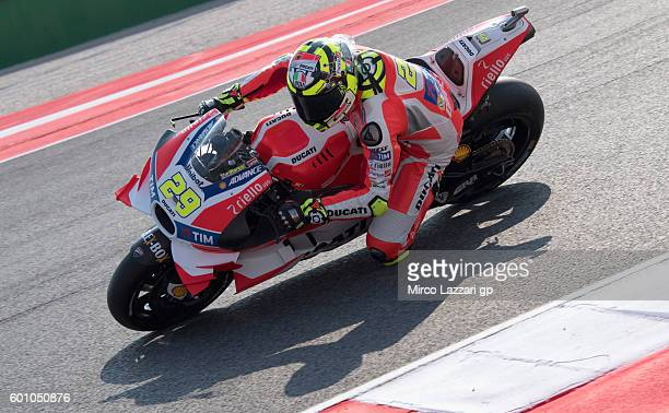 Andrea Iannone of Ducati Team in action during MotoGP of San Marino Free Practice at Misano World Circuit on September 9 2016 in Misano Adriatico...