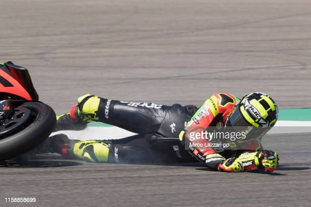 Andrea Iannone of Italy and Aprilia Racing Team Gresini crashing out during the MotoGP Netherlands Free Practice on June 28 2019 in Assen Netherlands