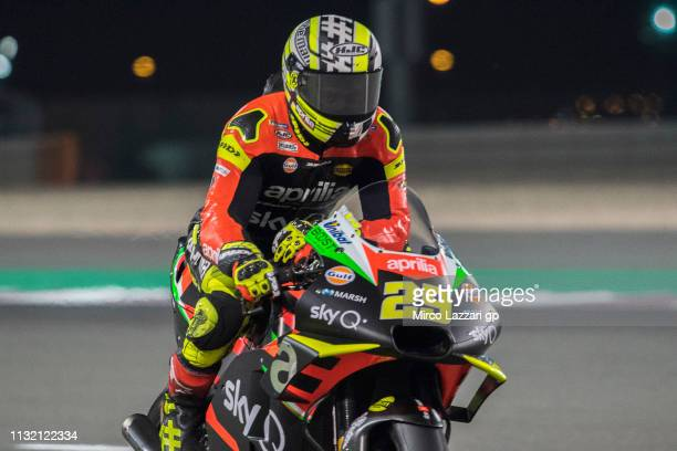 Andrea Iannone of Italy and Aprilia Racing Team Gresini heads down a straight during the MotoGP Tests Day Three at Losail Circuit on February 25 2019...