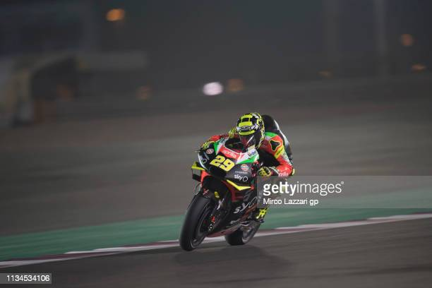 Andrea Iannone of Italy and Aprilia Racing Team Gresini heads down a straight during the MotoGP of Qatar Free Practice at Losail Circuit on March 08...
