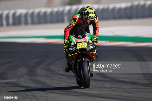 Andrea Iannone of Italy and Aprilia Racing Team Gresini heads down a straight during the preseason MotoGP Tests in Valencia at Ricardo Tormo Circuit...