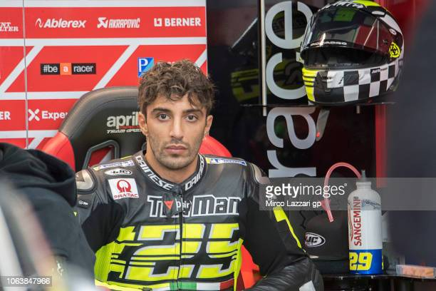 Andrea Iannone of Italy and Aprilia Racing Team Gresini looks on in box during the MotoGP Tests In Valencia at Ricardo Tormo Circuit on November 20...