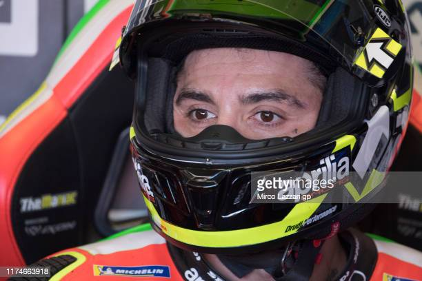 Andrea Iannone of Italy and Aprilia Racing Team Gresini looks on in box during the MotoGp of San Marino Qualifying at Misano World Circuit on...