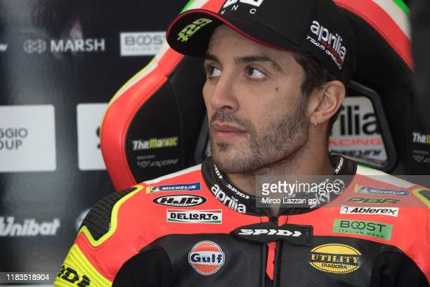 Andrea Iannone of Italy and Aprilia Racing Team Gresini looks on in box during the MotoGP of Australia Qualifying for the 2019 MotoGP of Australia at...