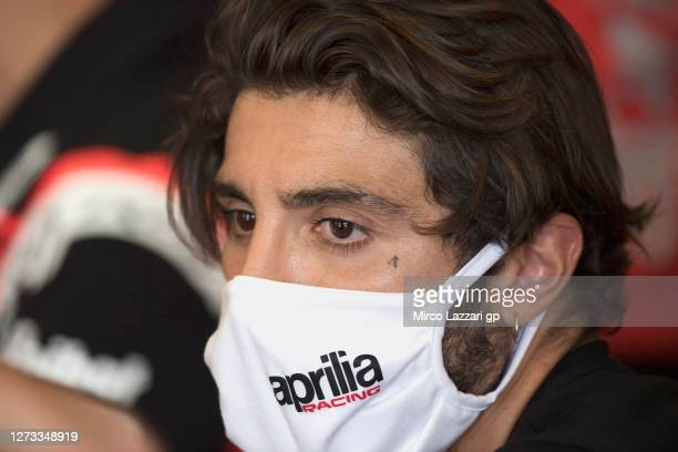 Andrea Iannone of Italy and Aprilia Racing Team Gresini looks on in box during the MotoGP Of San Marino Free Practice at Misano World Circuit on...