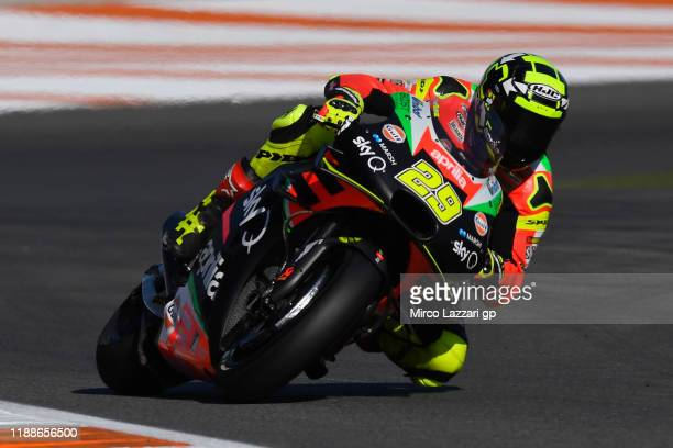 Andrea Iannone of Italy and Aprilia Racing Team Gresini rounds the bend during the preseason MotoGP Tests in Valencia at Ricardo Tormo Circuit on...