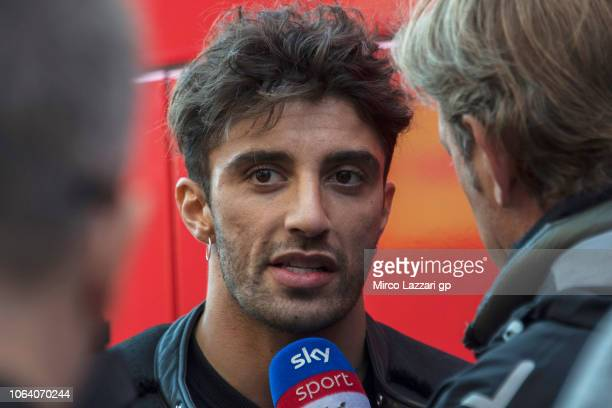 Andrea Iannone of Italy and Aprilia Racing Team Gresini speaks with journalists at the end of the MotoGP Tests In Valencia at Ricardo Tormo Circuit...