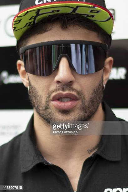 Andrea Iannone of Italy and Aprilia Racing Team Gresini speaks with journalists in paddock during the MotoGp of Argentina - Previews on March 28,...
