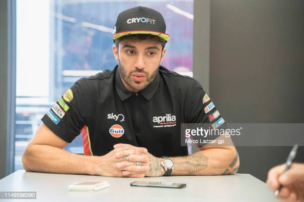 Andrea Iannone of Italy and Aprilia Racing Team Gresini speaks with journalists in hospitality during the MotoGp of France Previews on May 16 2019 in...