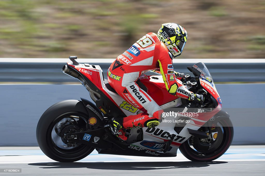 Andrea Iannone of Italy and Ducati Team heads down a straight during the MotoGp of Spain - Free Practice at Circuito de Jerez on May 1, 2015 in Jerez de la Frontera, Spain.