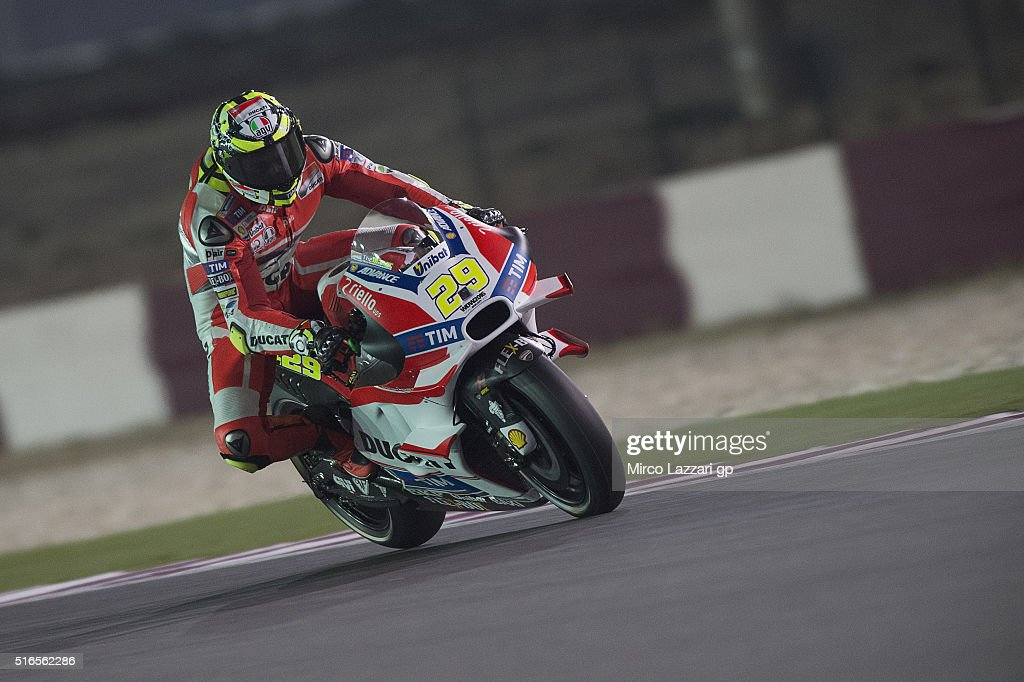 Andrea Iannone of Italy and Ducati Team heads down a straight during the qualifying practice during the MotoGp of Qatar - Qualifying at Losail Circuit on March 19, 2016 in Doha, Qatar.