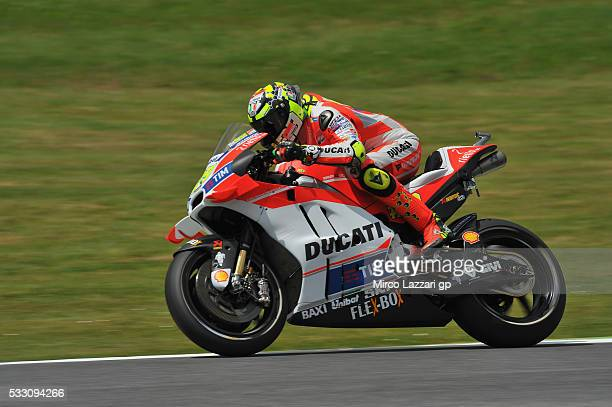 Andrea Iannone of Italy and Ducati Team heads down a straight during the MotoGp of Italy Free Practice at Mugello Circuit on May 20 2016 in Scarperia...